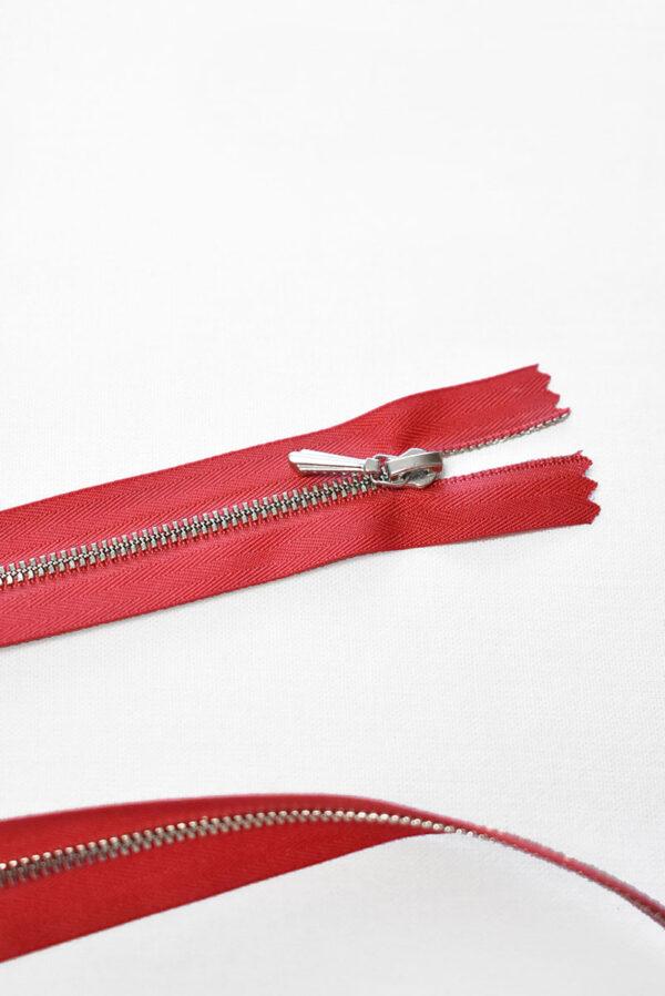 Молния разъемная красная с серебристыми зубьями и бегунком 3м 65 см (m1193) - Фото 8