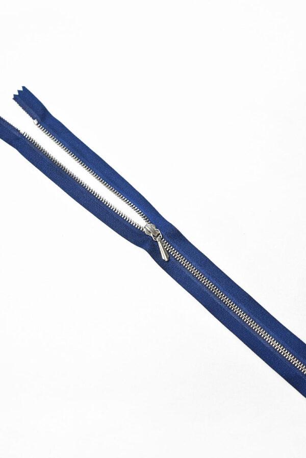 Молния разъемная синяя с серебристыми зубьями и бегунком 3м 65 см (m1195) - Фото 8
