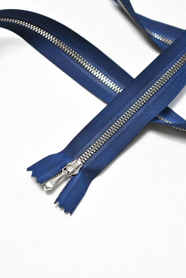 Молния разъемная синяя с серебристыми зубьями и бегунком 3м 65 см (m1195) - Фото 7