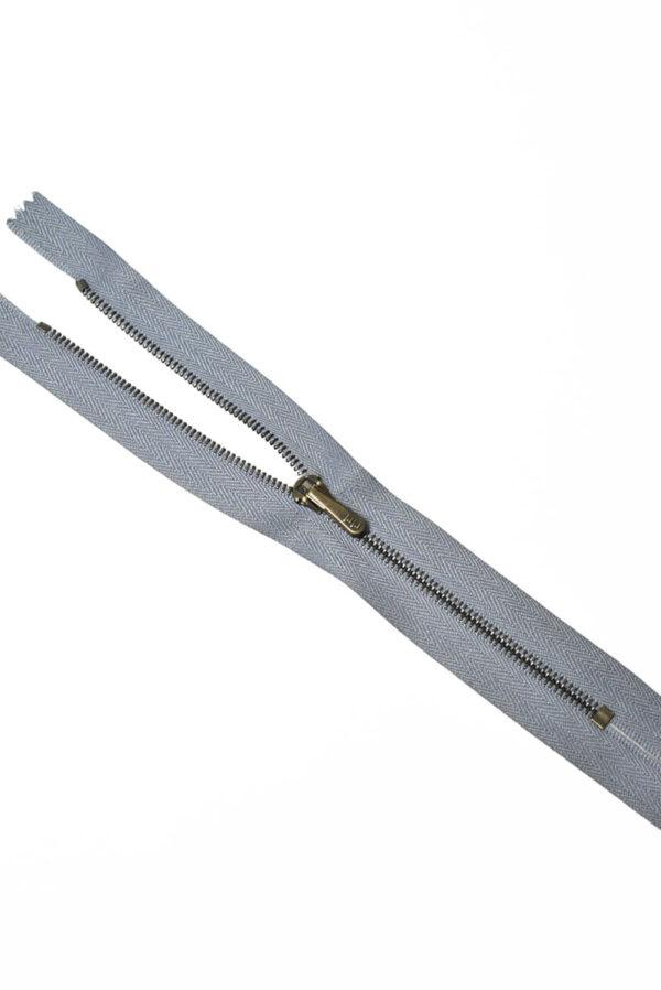 Молния металл брючная на тесьме серого цвета с бегунком 4 м (m1206) - Фото 6