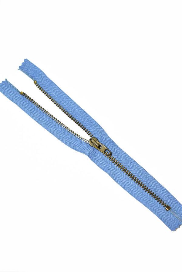 Молния металл бронза на голубой тесьме с бегунком 4 м (m1214) - Фото 6