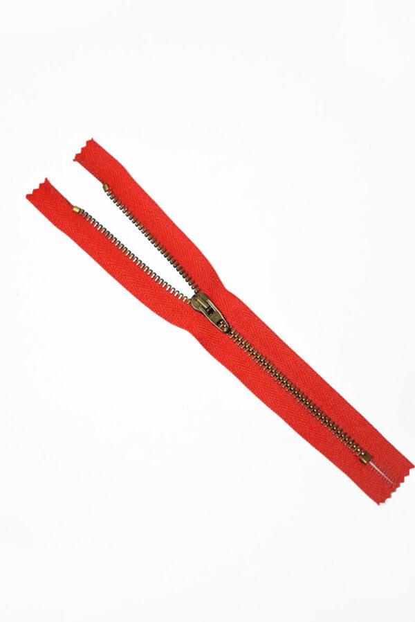 Молния металл бронза на красной тесьме с бегунком 4 м (m1218) - Фото 6
