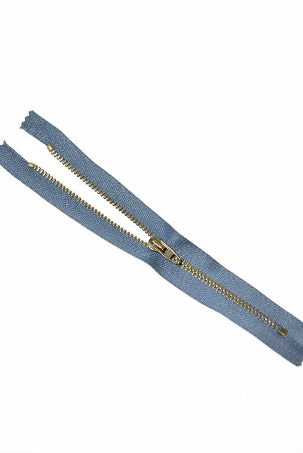 Молния металл бронза на серо-голубой тесьме с бегунком 4 м (m1224) - Фото 6