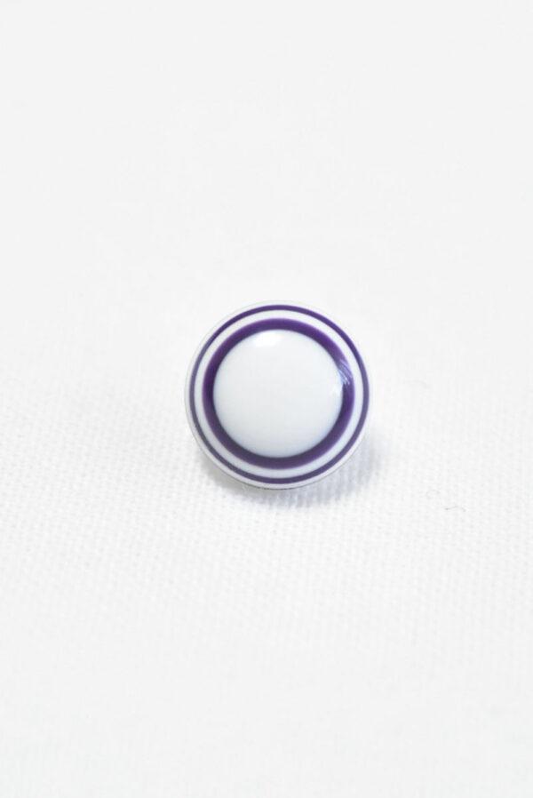 Пуговица пластик белая с фиолетовыми полосками (р1409) - Фото 6