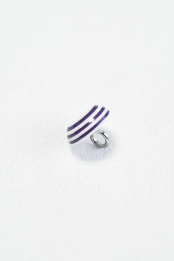 Пуговица пластик белая с фиолетовыми полосками (р1409) - Фото 7