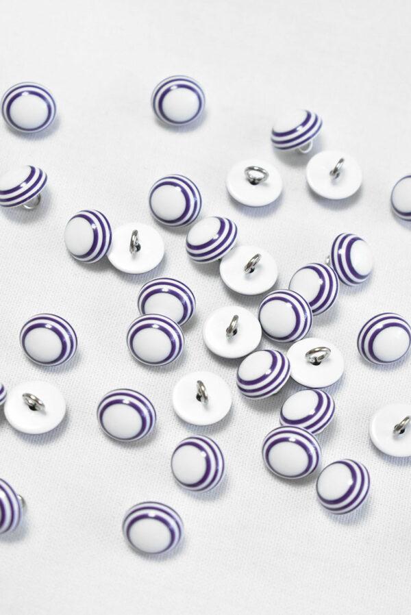 Пуговица пластик белая с фиолетовыми полосками (р1409) - Фото 9