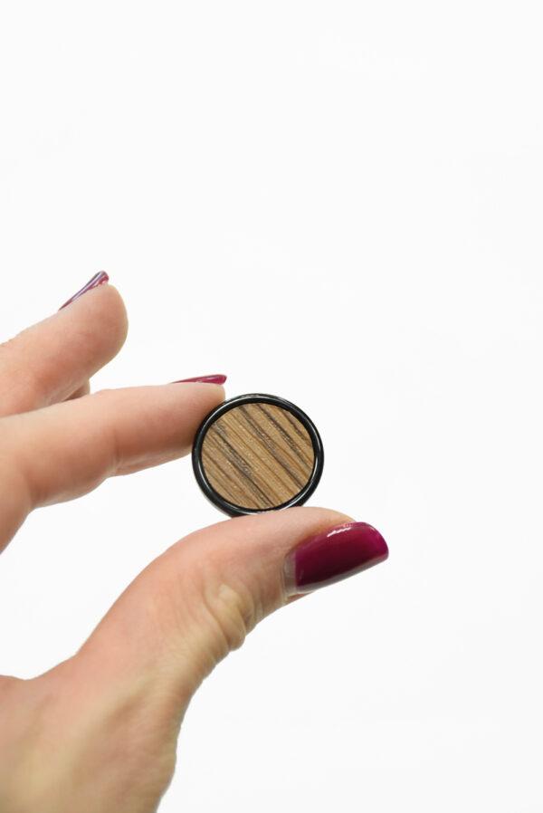 Пуговица коричневая в полоску с черным ободком маленькая (р1410) - Фото 9