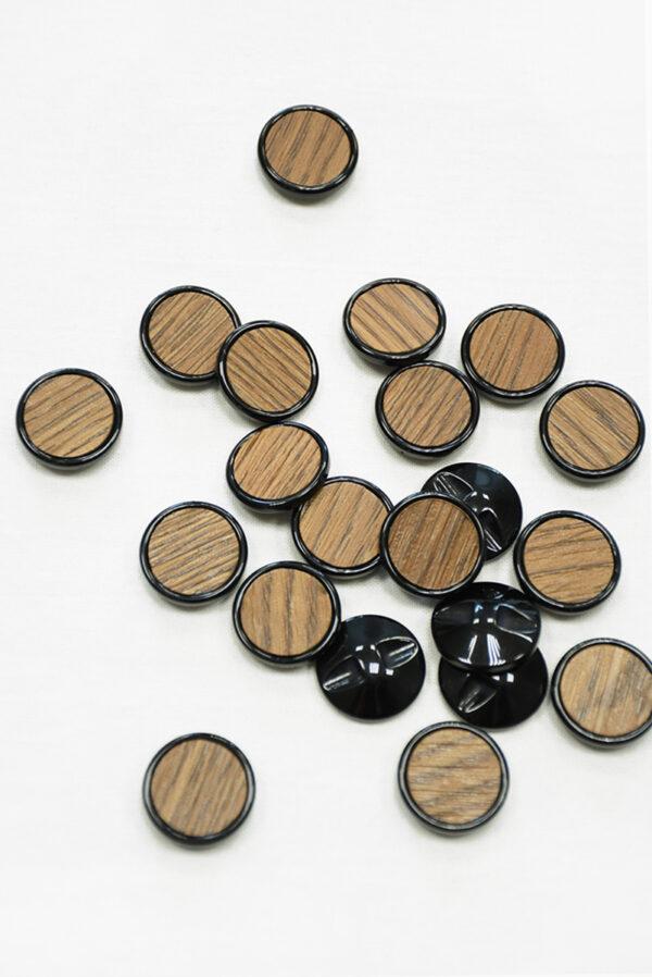 Пуговица коричневая в полоску с черным ободком маленькая (р1410) - Фото 8
