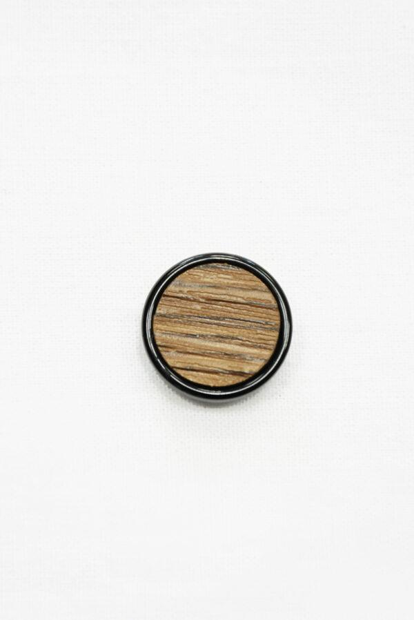 Пуговица коричневая в полоску с черным ободком маленькая (р1410) - Фото 6