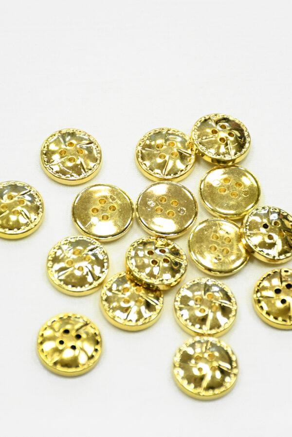 Пуговица пластик золотая на четыре прокола (р1418) - Фото 8