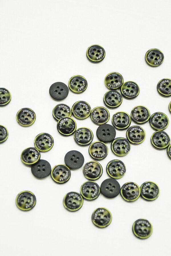 Пуговица пластик черная с желтым надпись popular (р1419) - Фото 7