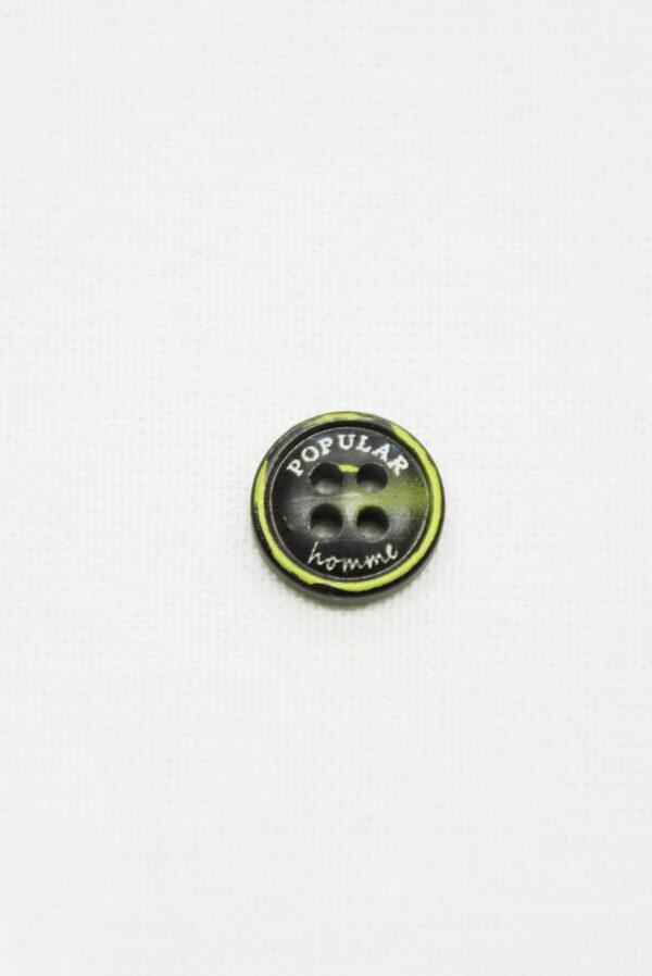 Пуговица пластик черная с желтым надпись popular (р1419) - Фото 6
