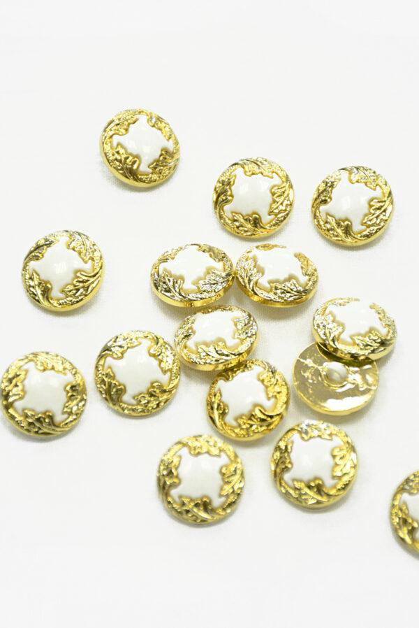 Пуговица пластик белая с золотыми листьями (р1421) - Фото 8
