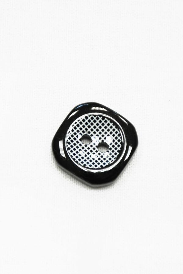 Пуговица пластик черная с клетчатой серединкой (р1424) - Фото 6
