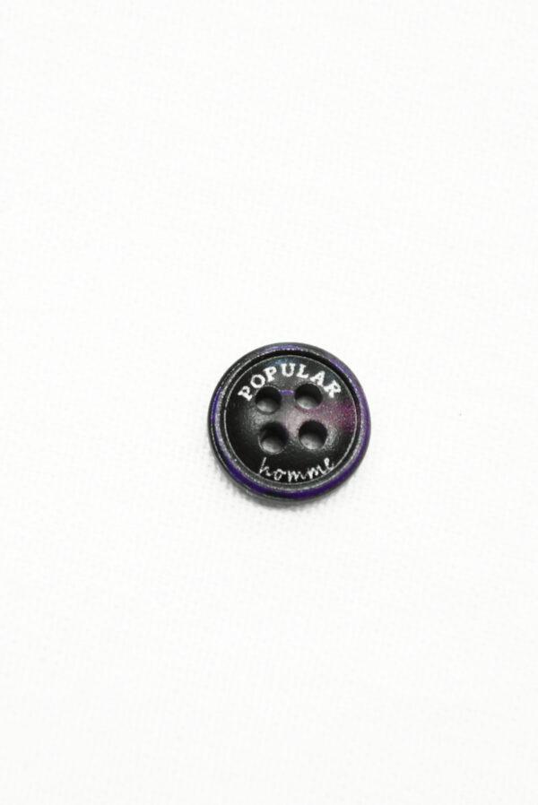 Пуговица пластик черная с фиолетовым надпись popular (р1434) - Фото 6