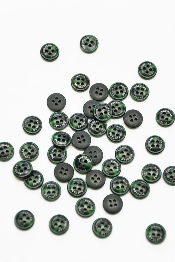 Пуговица пластик черная с зеленым надпись popular (р1449) - Фото 7