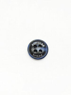 Пуговица пластик черная с синим надпись popular (р1452) - Фото 15