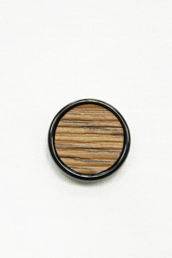Пуговица коричневая в полоску с черным ободком (р1463) - Фото 6