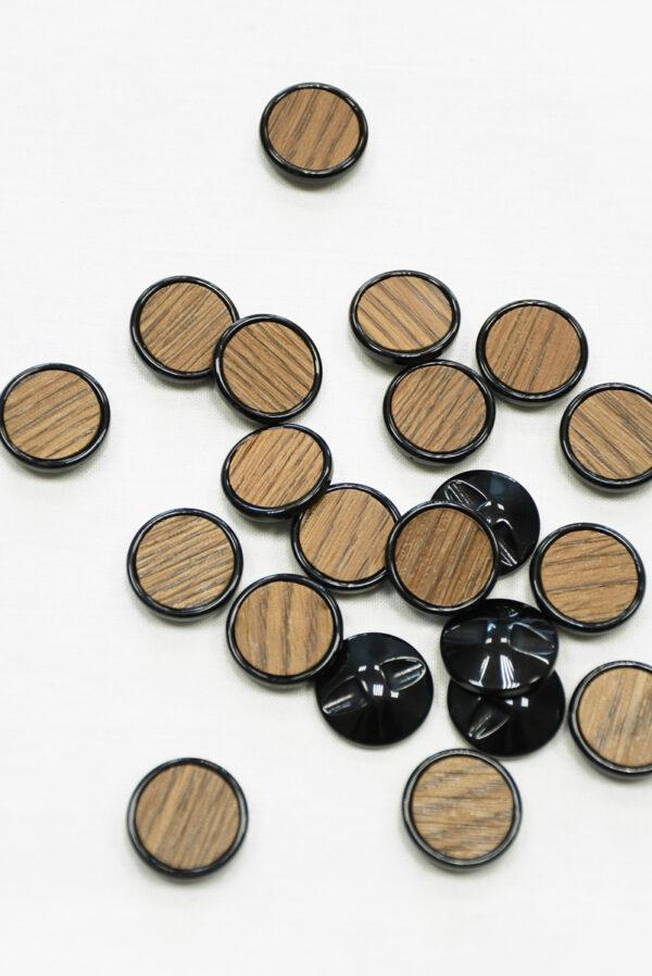 Пуговица коричневая в полоску с черным ободком (р1463) - Фото 8