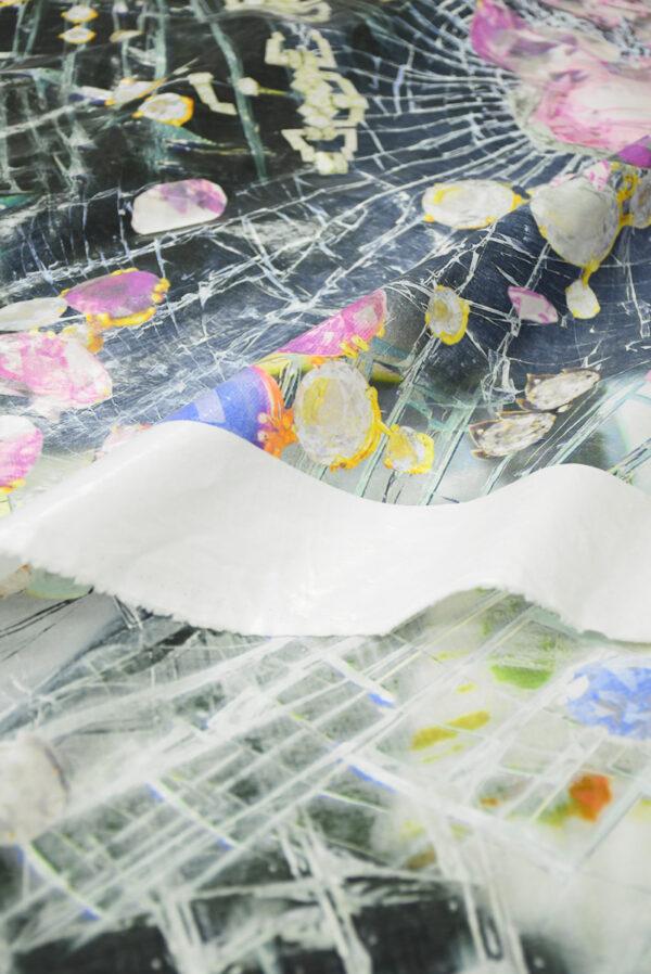 Хлопок лакированный серый с украшениями (9887) - Фото 11