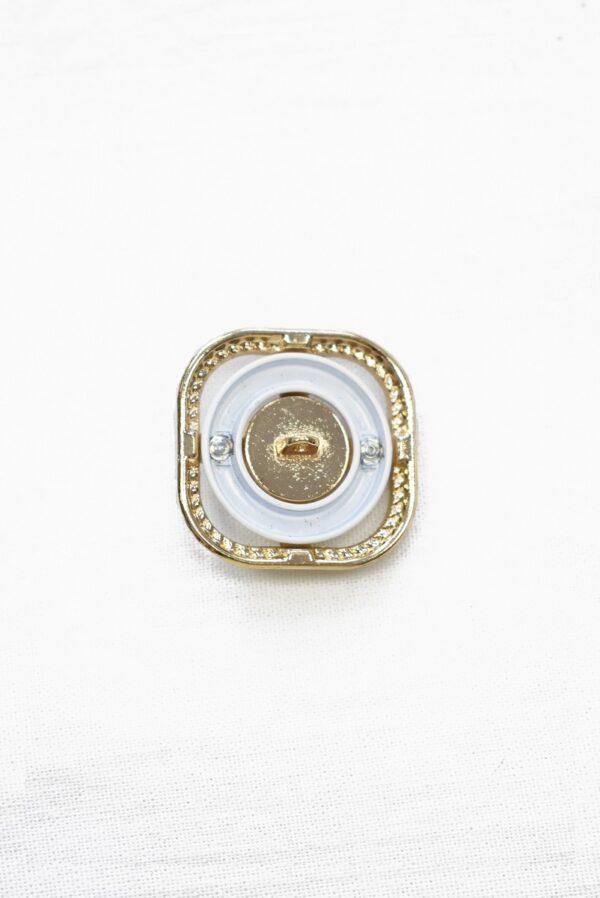 Пуговица металл золото квадратная пальтовая 30мм (p1082) к22 - Фото 8