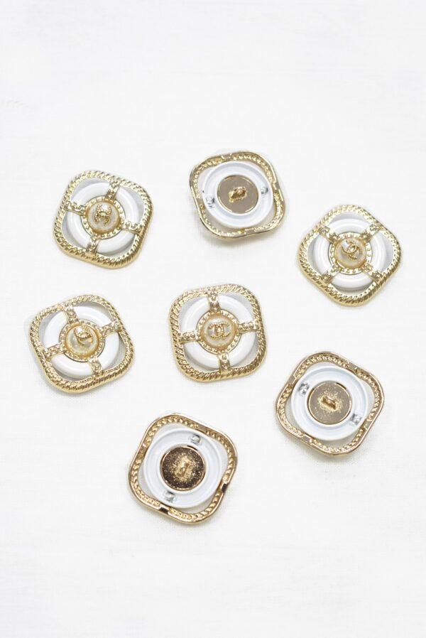 Пуговица металл золото квадратная пальтовая 30мм (p1082) к22 - Фото 7