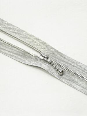 Молния металл серебро на блестящей тесьме с люрексом и бегунком м4 (m1199 m1235) - Фото 15