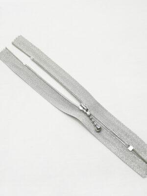 Молния металл серебро на блестящей тесьме с люрексом и бегунком м4 (m1199 m1235) - Фото 14