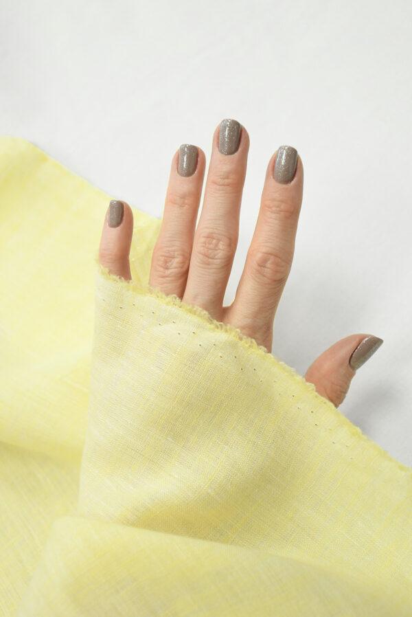 Лен желтого оттенка с эффектом меланж (9942) - Фото 7