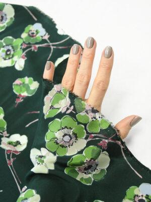Шелк темно-зеленый с цветочным рисунком (9947) - Фото 11