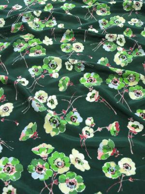 Шелк темно-зеленый с цветочным рисунком (9947) - Фото 10