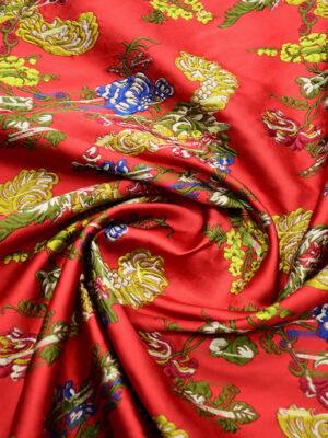Жаккард ярко-красный с цветами (9952) - Фото 25