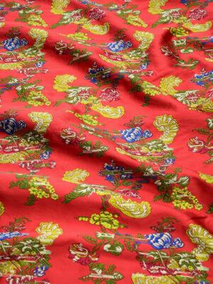 Жаккард ярко-красный с цветами (9952) - Фото 24