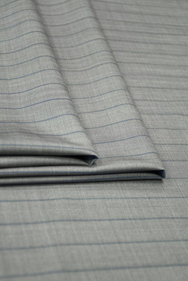 Костюмная шерсть серая в тонкую полоску (7239) - Фото 7