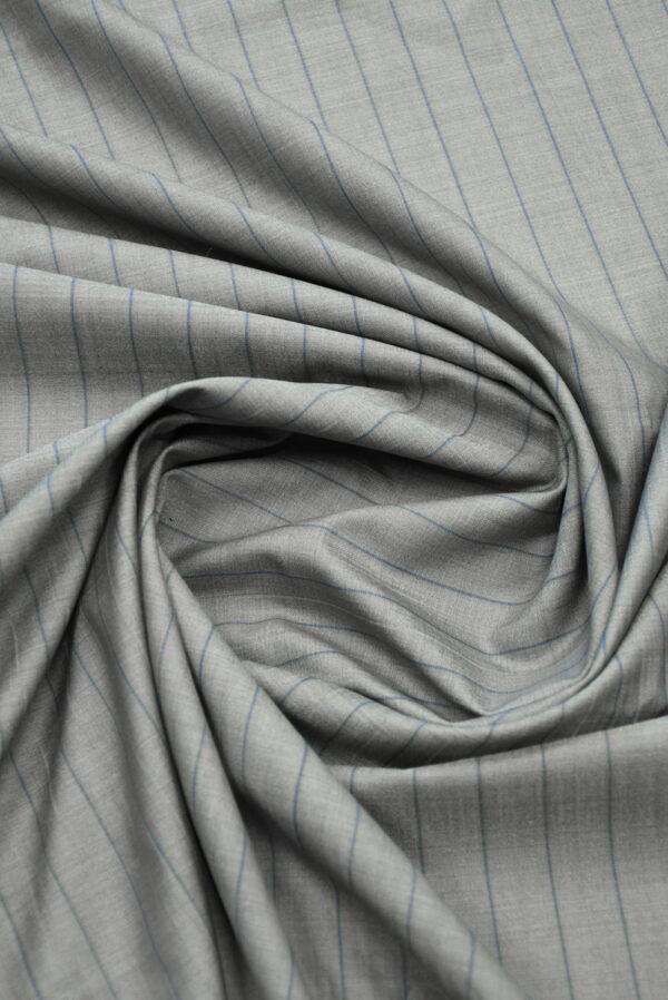 Костюмная шерсть серая в тонкую полоску (7239) - Фото 8