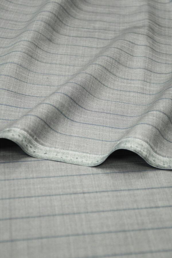 Костюмная шерсть серая в тонкую полоску (7239) - Фото 9