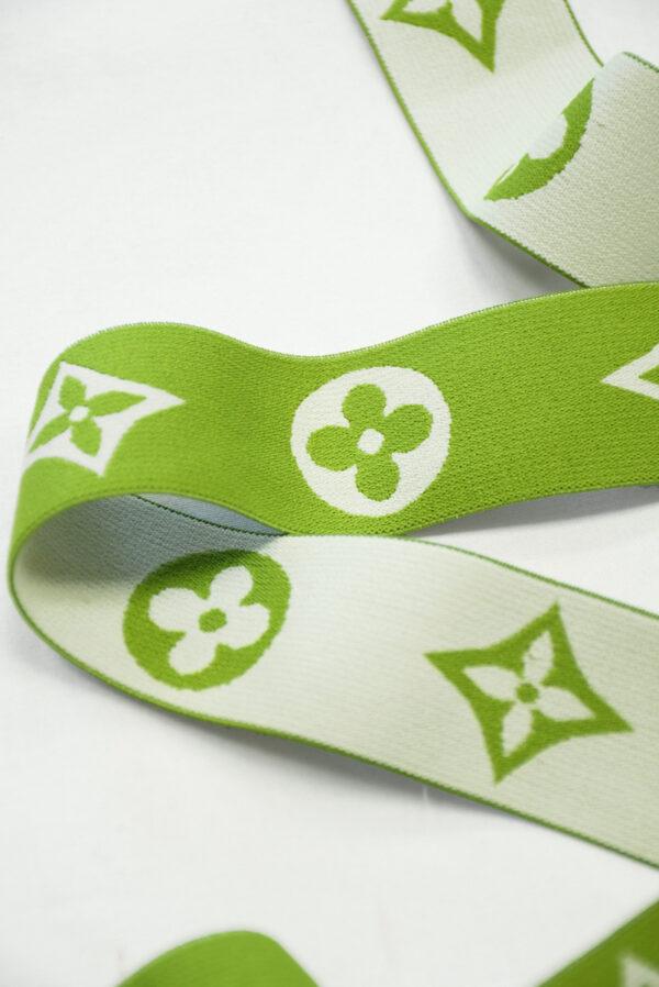 Резинка зеленая с белым узором (t0809) т-27 - Фото 9