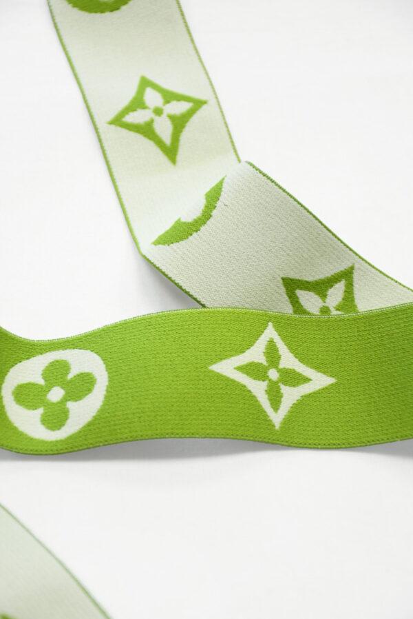 Резинка зеленая с белым узором (t0809) т-27 - Фото 8