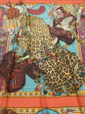 Шелк купон с леопардами орлами и красной каймой (10028) - Фото 8