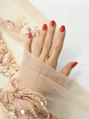Вышивка на сетке персиковая с бахромой (9913) - Фото 27