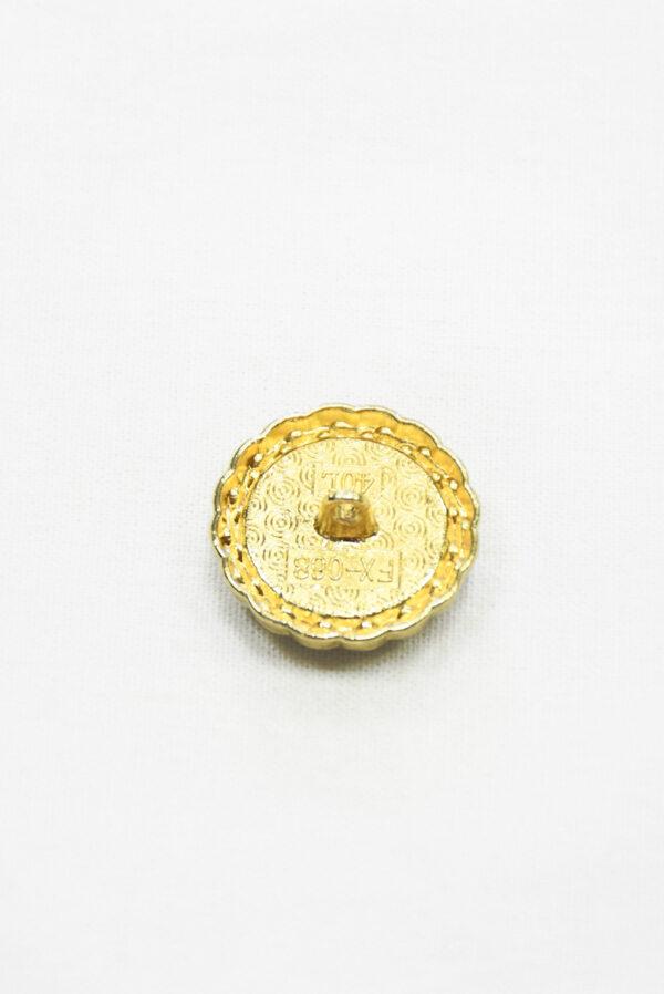 Пуговица твидовая коричневая с голубым в золотой окантовке (р1464) - Фото 8