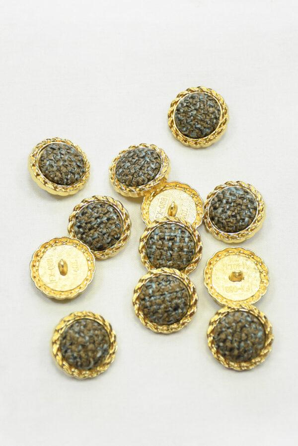 Пуговица твидовая коричневая с голубым в золотой окантовке (р1464) - Фото 9