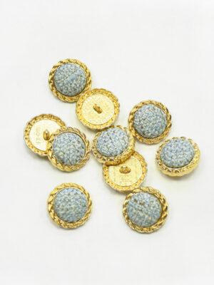 Пуговица твидовая голубая в золотой окантовке (р1465) - Фото 11