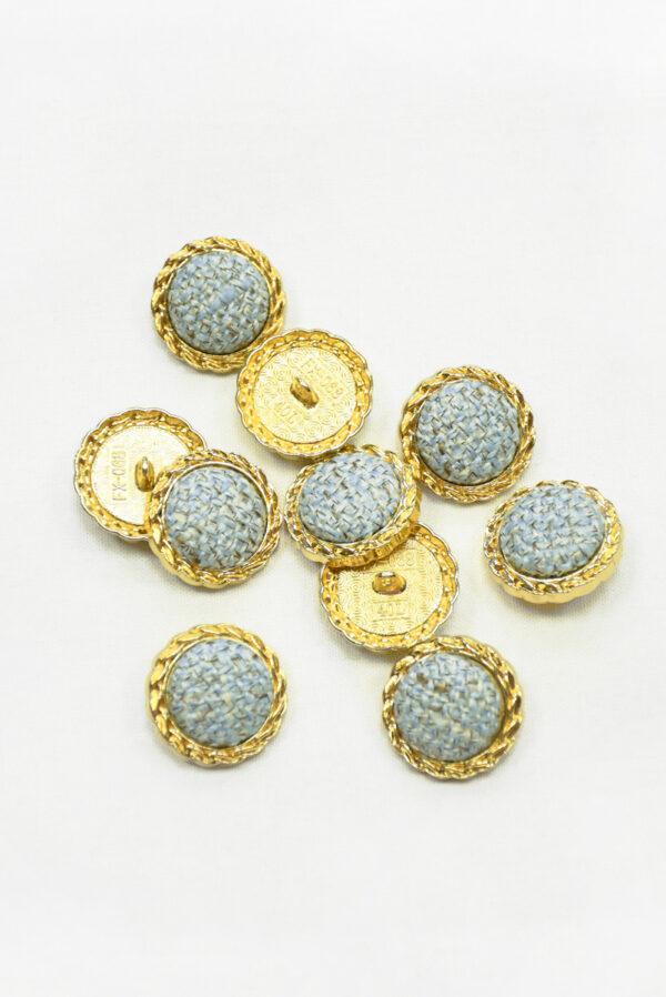Пуговица твидовая голубая в золотой окантовке (р1465) - Фото 7