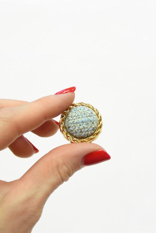 Пуговица твидовая голубая в золотой окантовке (р1465) - Фото 9