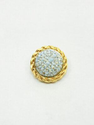 Пуговица твидовая голубая в золотой окантовке (р1465) - Фото 10