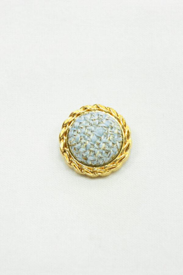 Пуговица твидовая голубая в золотой окантовке (р1465) - Фото 6