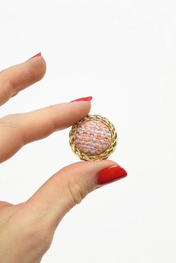 Пуговица твидовая розовая в золотой окантовке (р1466) - Фото 7