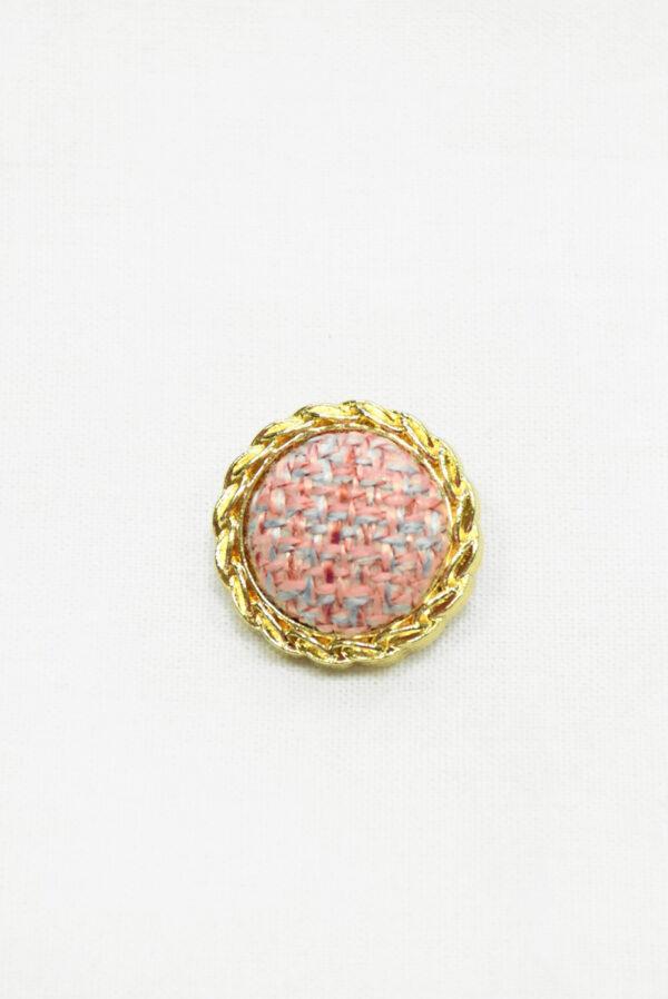 Пуговица твидовая розовая в золотой окантовке (р1466) - Фото 6