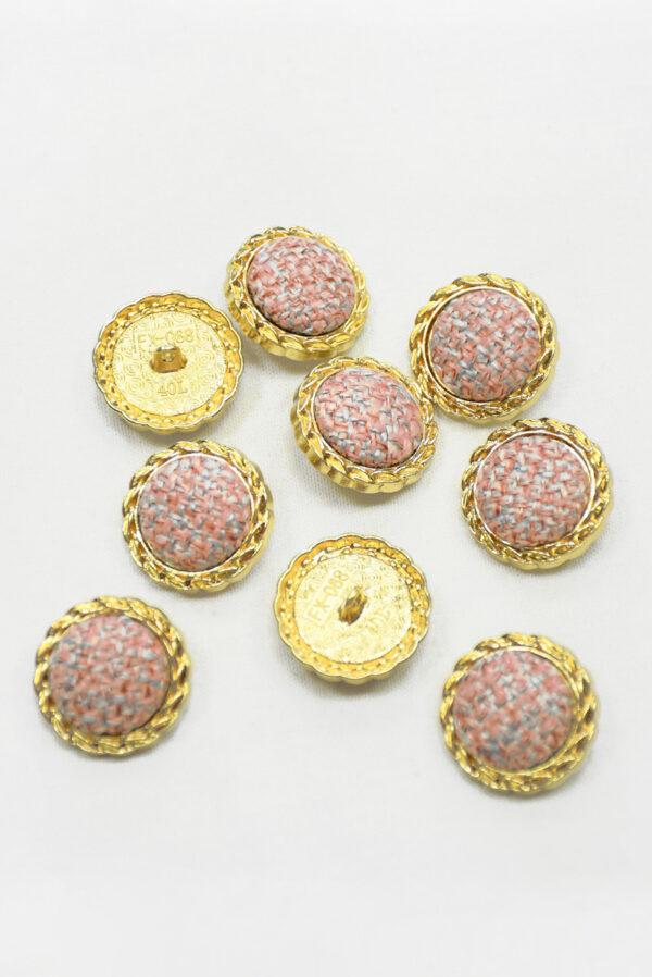 Пуговица твидовая розовая в золотой окантовке (р1466) - Фото 9